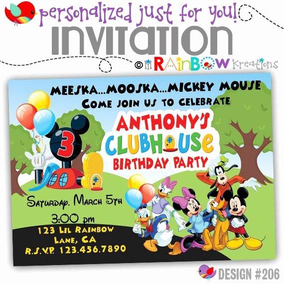 Diy Mickey Mouse Birthday Invitations Unique 206 Diy Mickey Mouse Clubhouse Party Invitation Thank