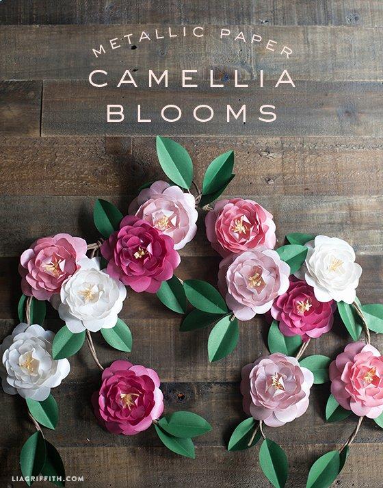 Diy Paper Flower Template Inspirational Diy Metallic Paper Camellias
