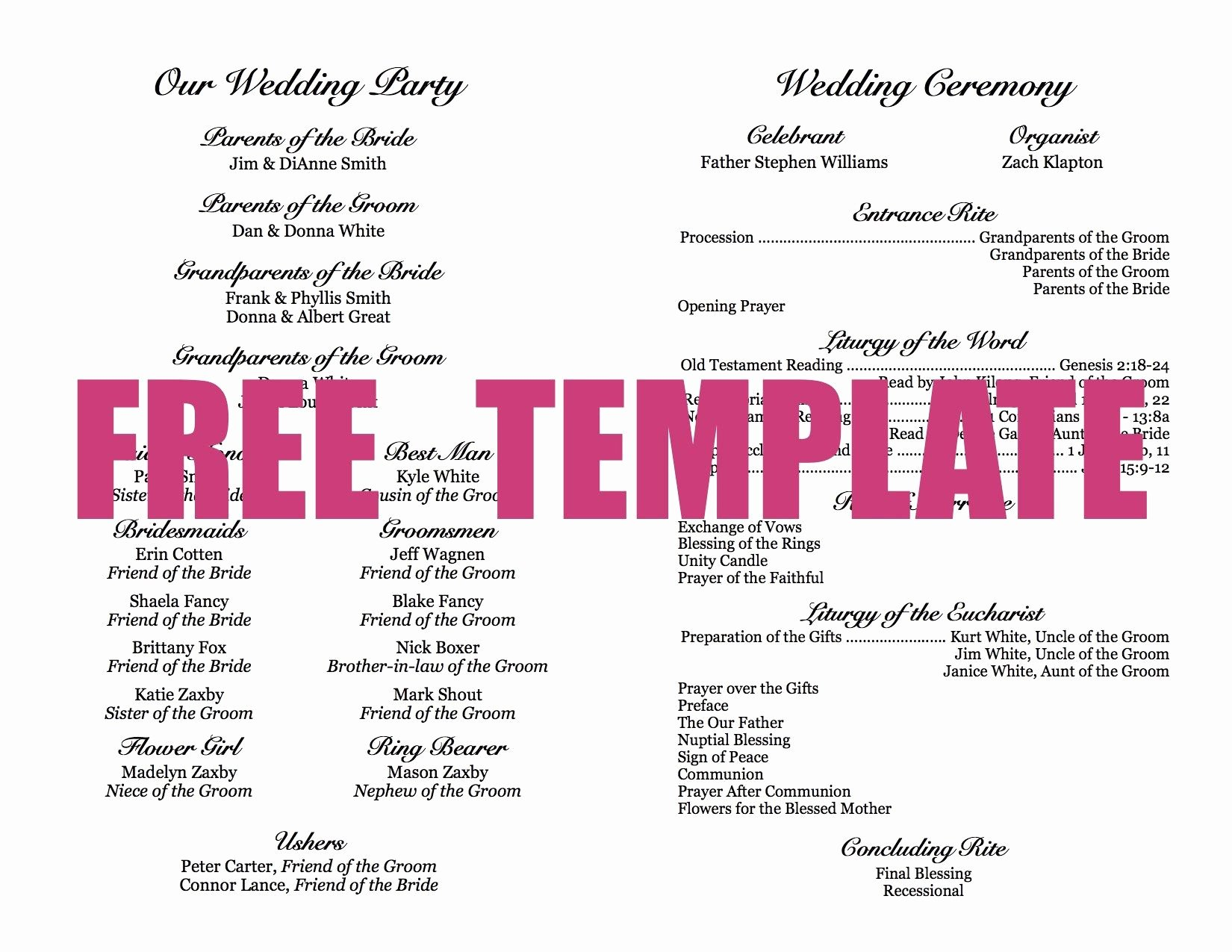 Diy Wedding Program Templates Free Awesome Wedding Program Template Crafts