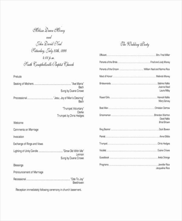 Diy Wedding Program Templates Free Beautiful 10 Wedding Program Templates Free Sample Example