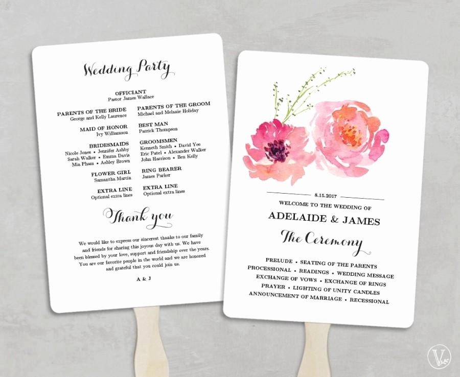 Diy Wedding Program Templates Free Best Of Printable Wedding Program Fan Template Wedding Fans Diy