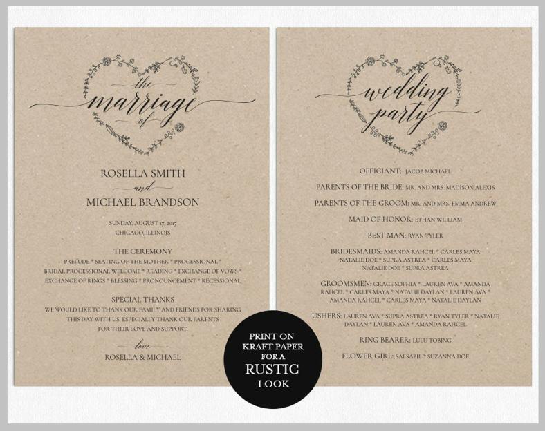 Diy Wedding Program Templates Free Elegant 14 Wedding Program Templates Psd Ai
