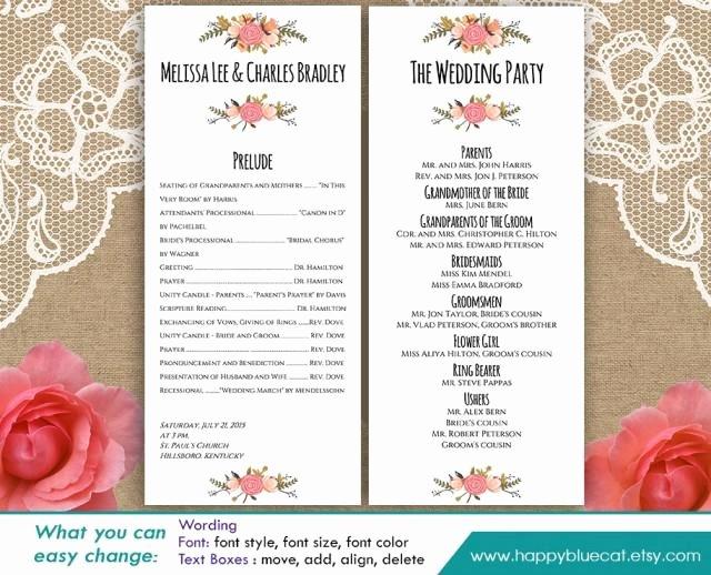 Diy Wedding Program Templates Free Elegant Diy Printable Program Wedding Template Instant Download