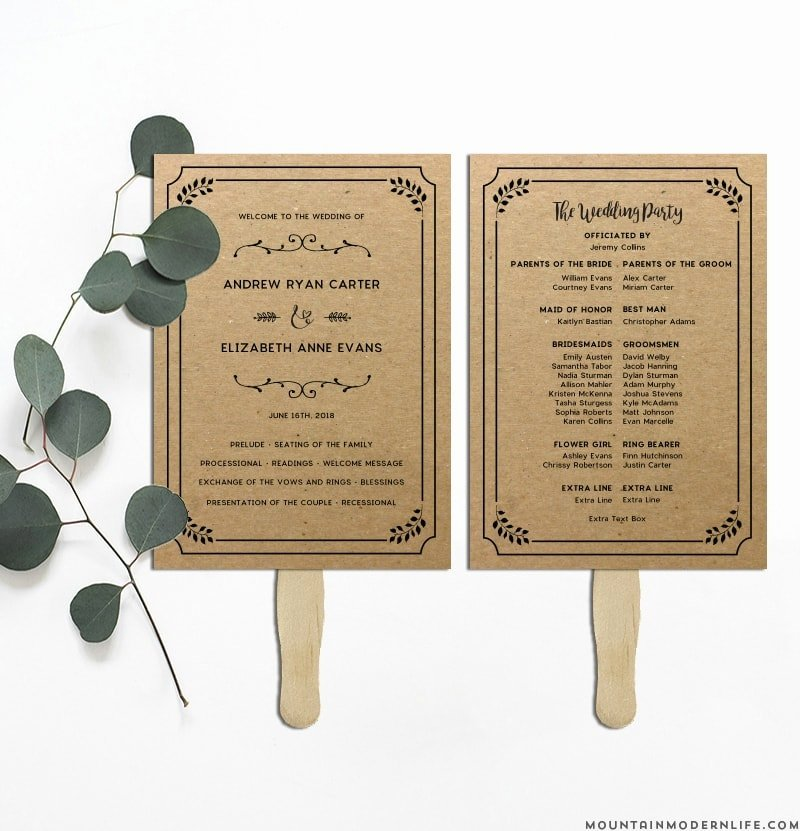 Diy Wedding Program Templates Free Elegant Printable Rustic Diy Table Numbers and Place Cards