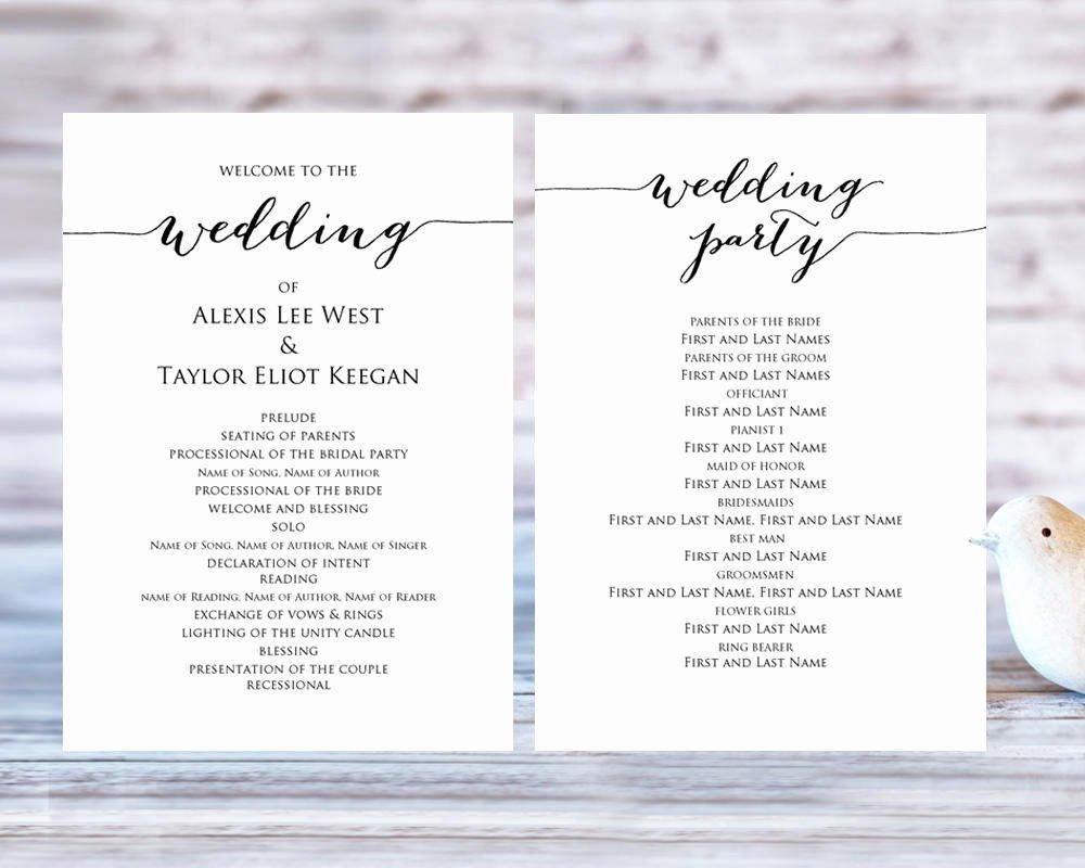 Diy Wedding Program Templates Free Elegant Wedding Program Templates · Wedding Templates and Printables