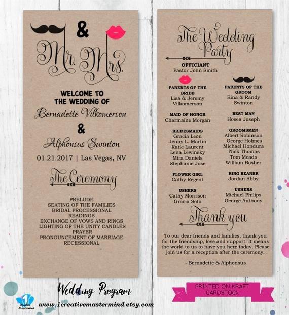 Diy Wedding Program Templates Free Fresh Diy Fun Wedding Program Template Printable Editable Template