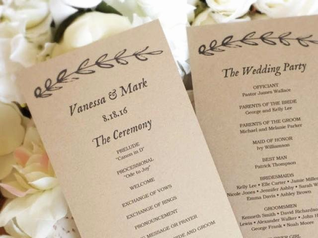 Diy Wedding Program Templates Free Luxury Printable Wedding Program Template Kraft Paper Wedding