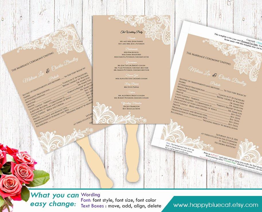 Diy Wedding Program Templates Free Unique Diy Printable Wedding Fan Program Template Instant Download