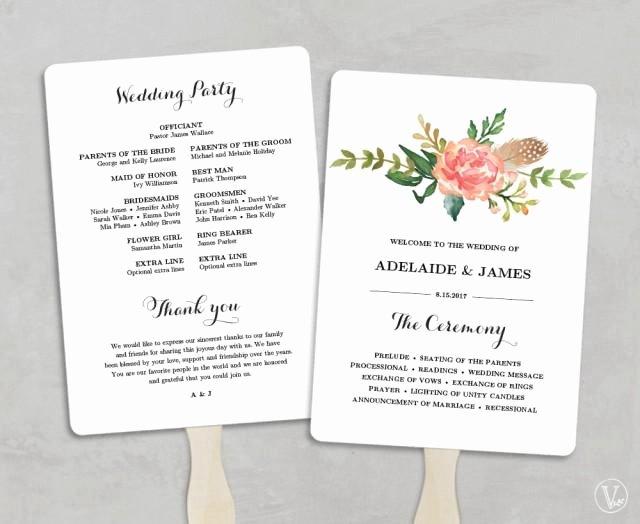Diy Wedding Program Templates Free Unique Printable Wedding Program Template Fan Wedding Programs