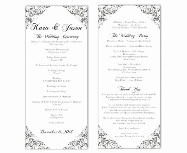 Diy Wedding Program Templates Free Unique Wedding Program Template Diy Editable Text Word File