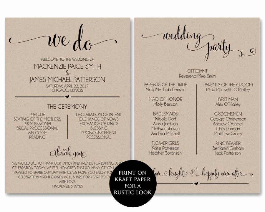 Diy Wedding Program Templates Free Unique Wedding Program Template Wedding Program Printable We Do