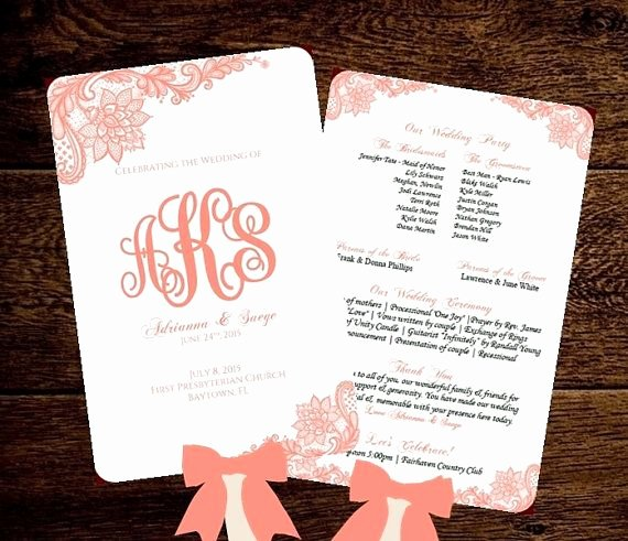 Diy Wedding Programs Templates Free Awesome Wedding Fan Program Template Printable Coral by