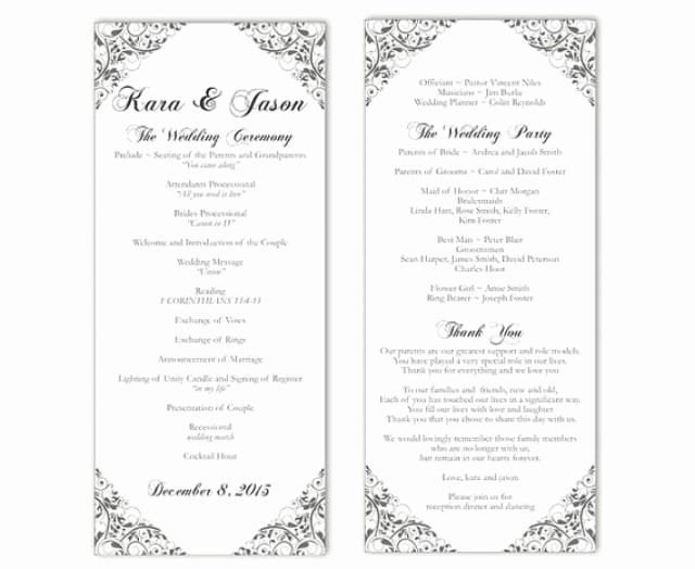 Diy Wedding Programs Templates Free Awesome Wedding Program Template Diy Editable Text Word File