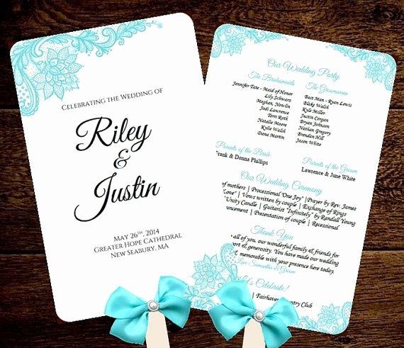 Diy Wedding Programs Templates Free Beautiful Wedding Fan Program Template Printable Tiffany Blue Fan