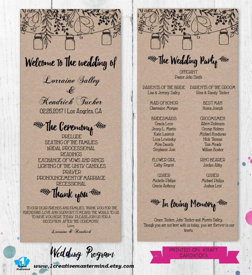 Diy Wedding Programs Templates Free Elegant Diy Rustic Wedding Program Template Printable Editable