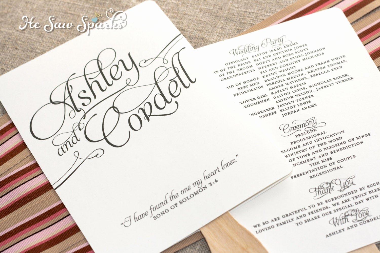 Diy Wedding Programs Templates Free Inspirational Matching Paddle Fan Program Diy Printable