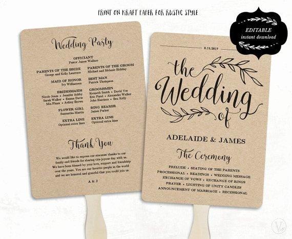 Diy Wedding Programs Templates Free Inspirational Printable Wedding Program Template Rustic Wedding Fan