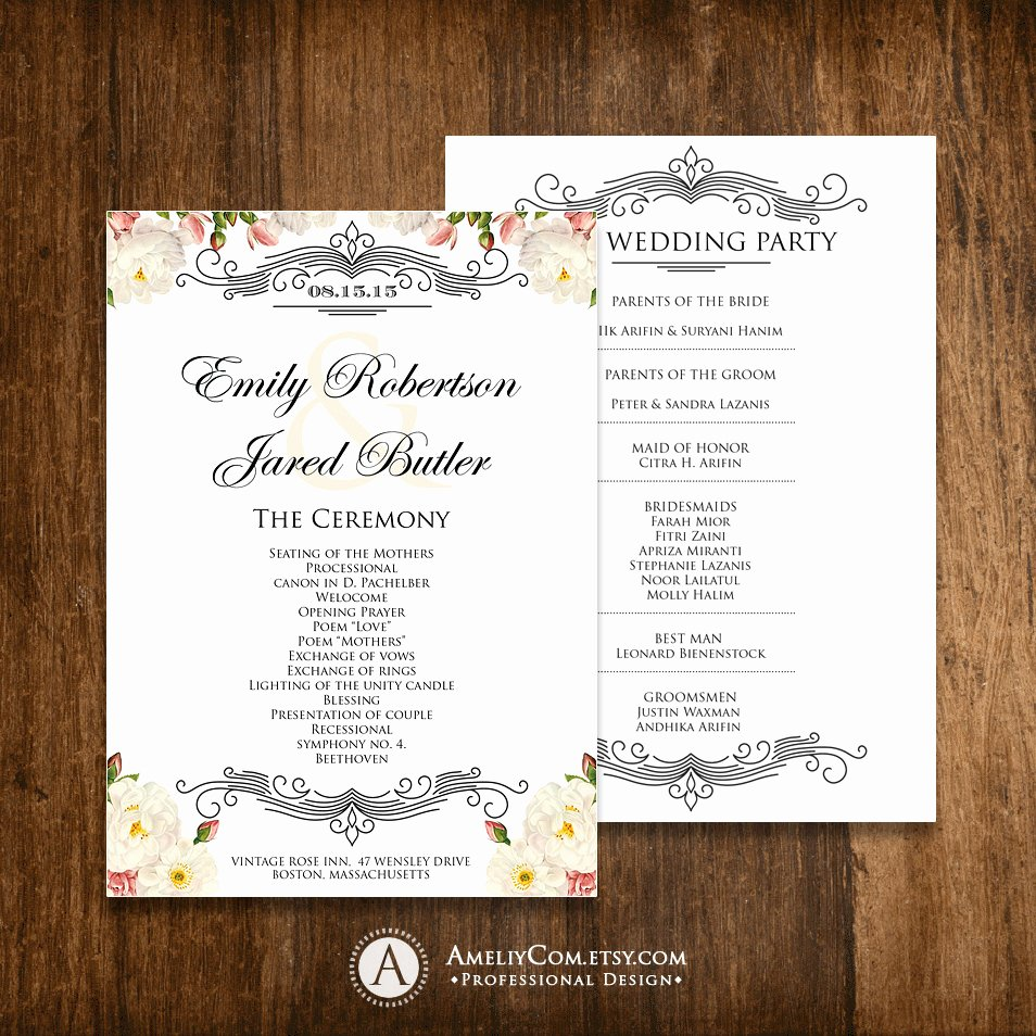 Diy Wedding Programs Templates Free Lovely Printable Wedding Programs Editable Template Diy Instant