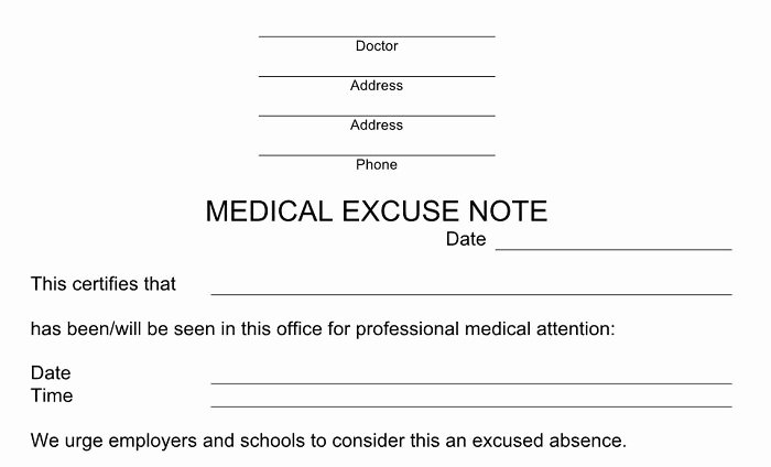 Doctors Excuse Template Free Fresh 27 Free Doctor Note Excuse Templates Free Template