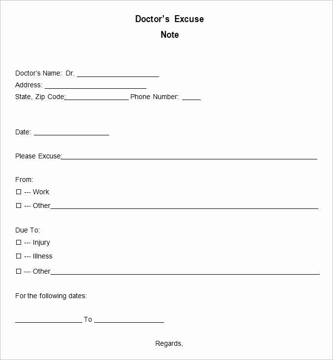 Doctors Excuse Template Free Inspirational Doctor Excuse Template