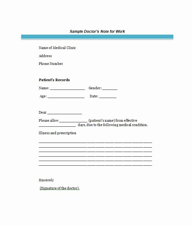 Doctors Excuse Template Free Inspirational Free Doctor S Note Excuse Note Templates Template Section