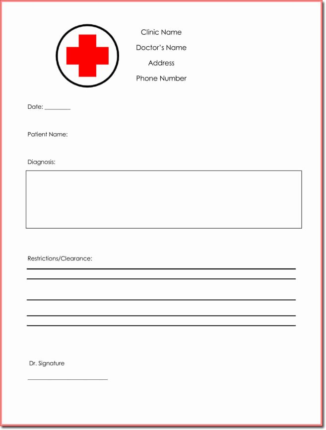 Doctors Excuse Template Free Lovely 9 Best Free Doctors Note Templates for Work