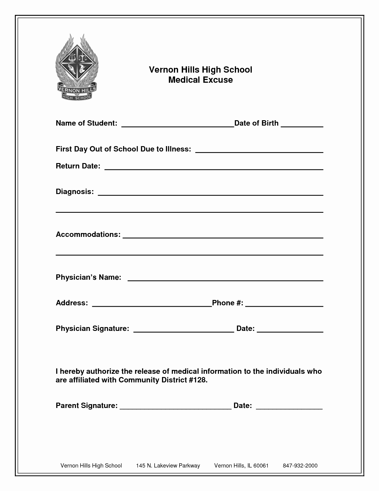 Doctors Note for School Absence New Free Printable Medical Excuse forms