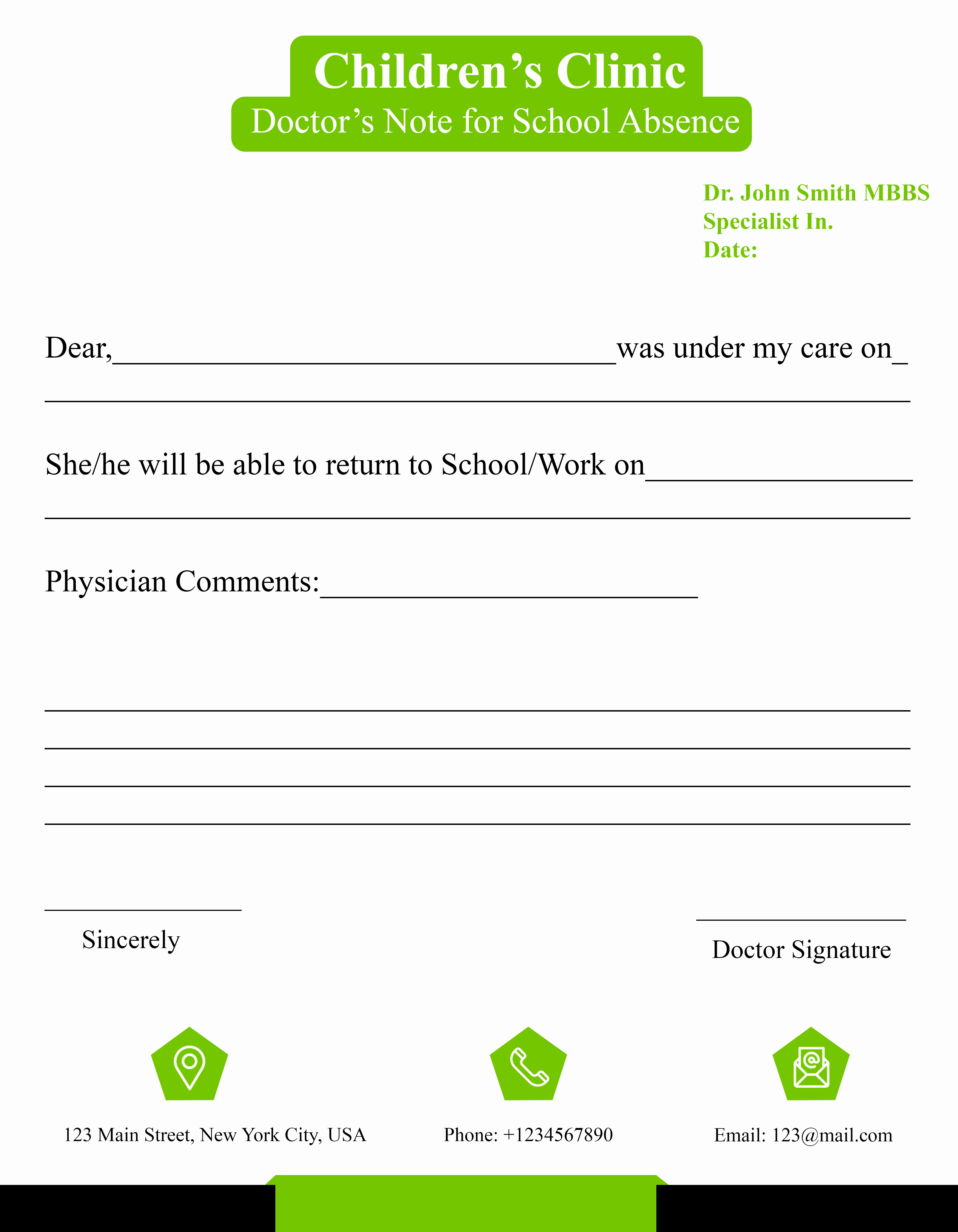 Doctors Note for School Absence Unique Free Doctors Note Template