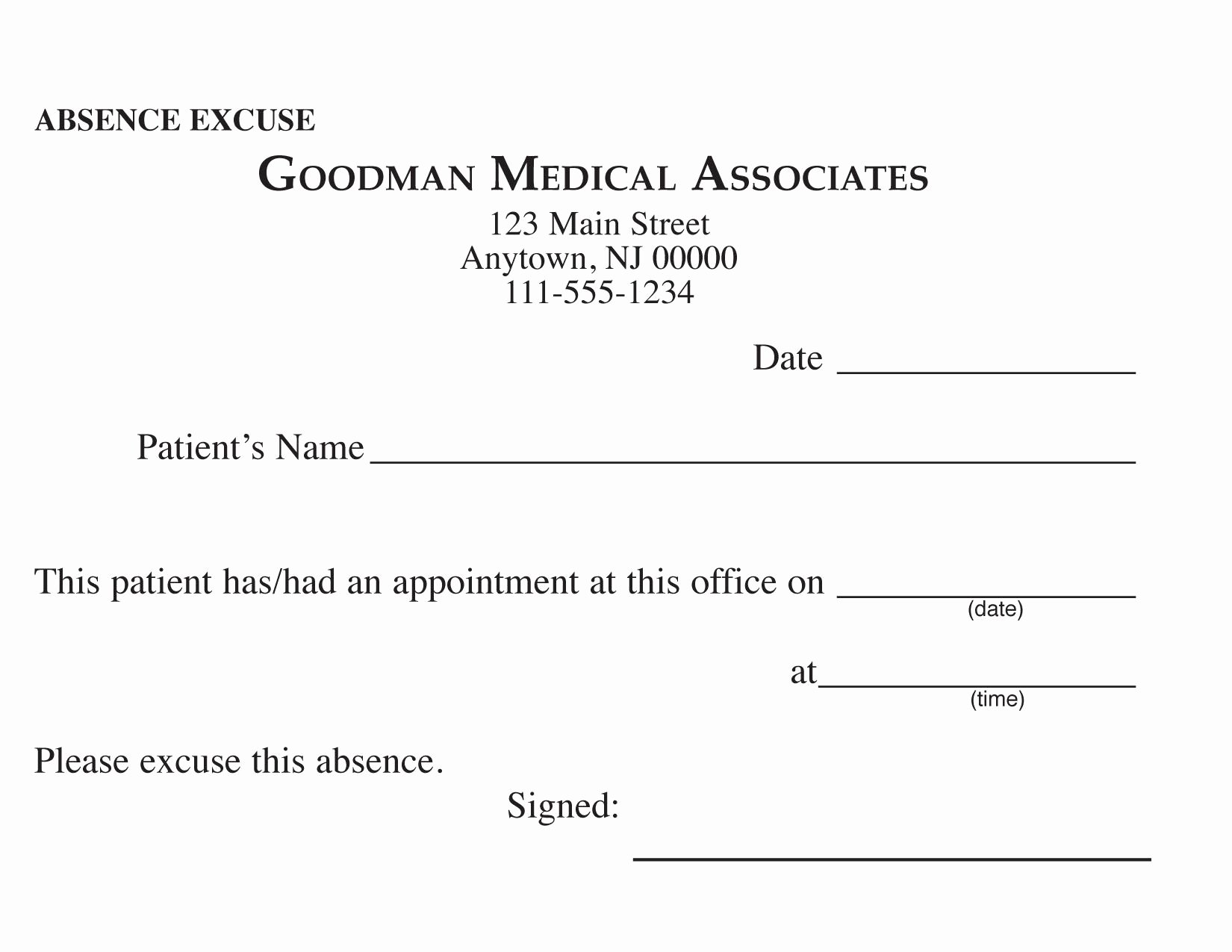 Doctors Note Print Out Unique Blank Printable Doctor Excuse form