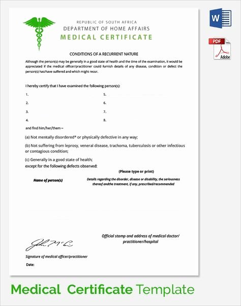 Doctors Note with Signature Awesome Sample Medical Certificate Documents Pdf Word