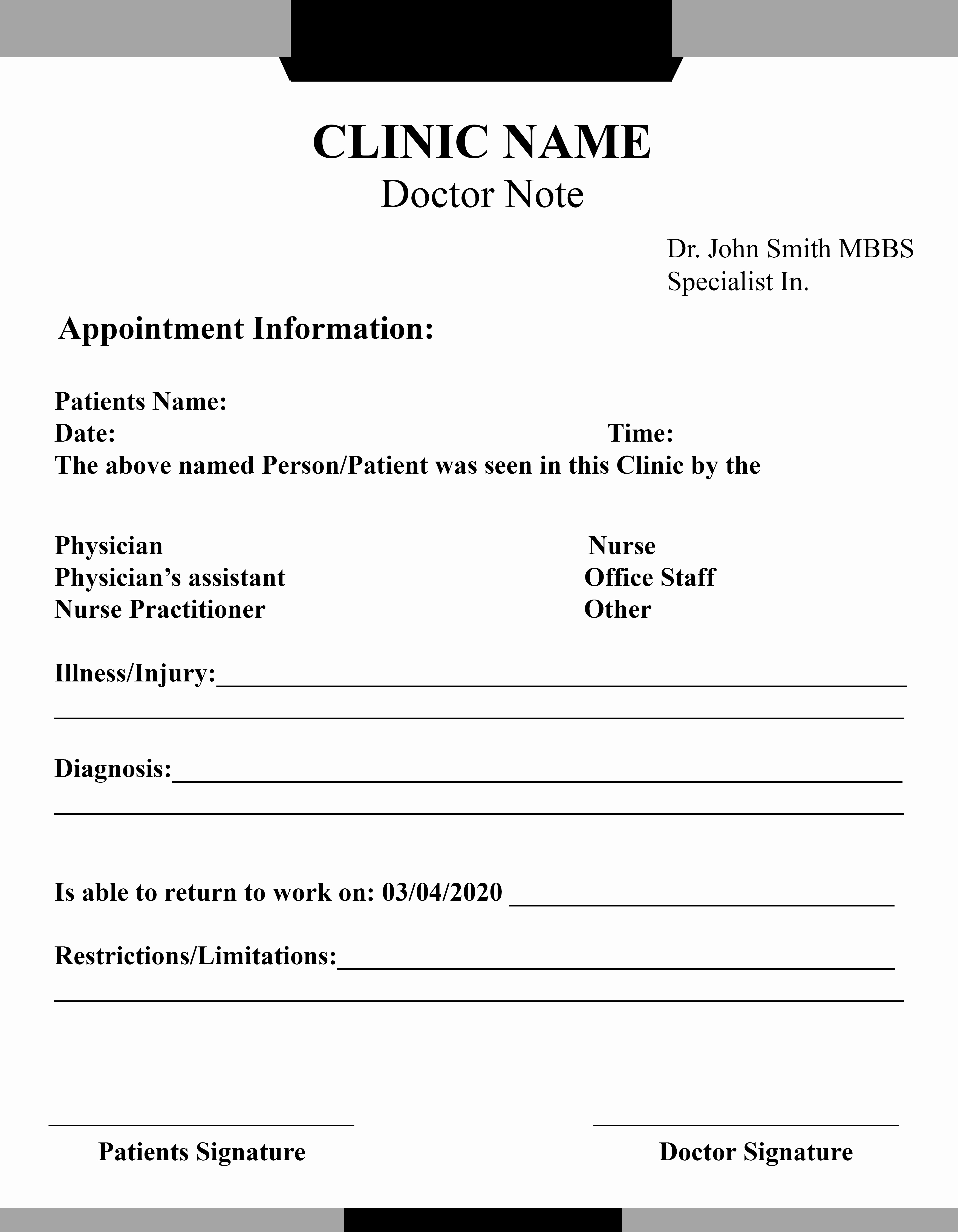 Doctors Note with Signature Beautiful 15 Free Printable Fake Doctors Note Template for Work
