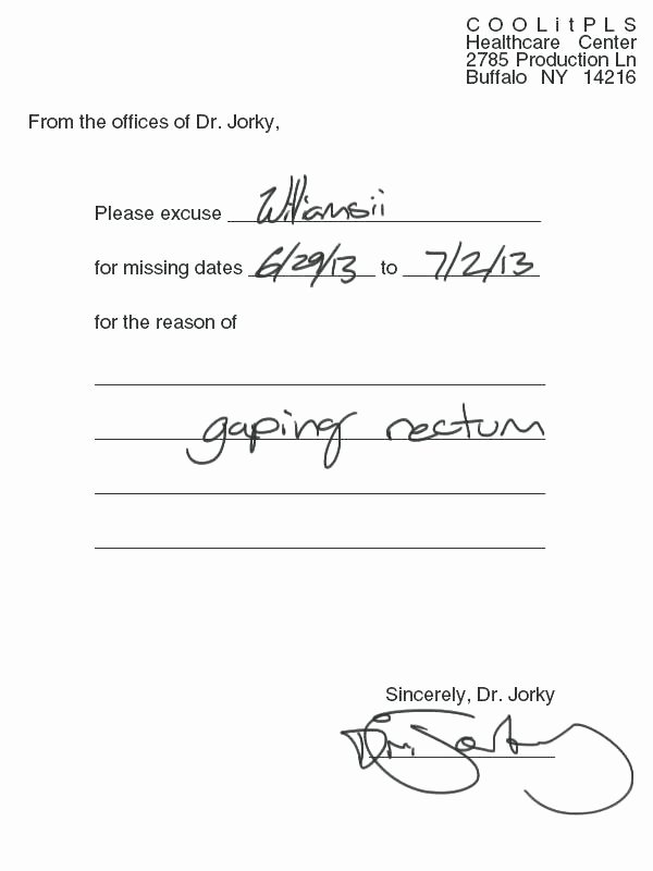 Doctors Note with Signature Lovely 6 Doctor Excuse Template
