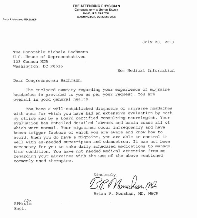 Doctors Note with Signature Lovely Bachmann Releases Doctor S Note Answers Claim Of Heavy