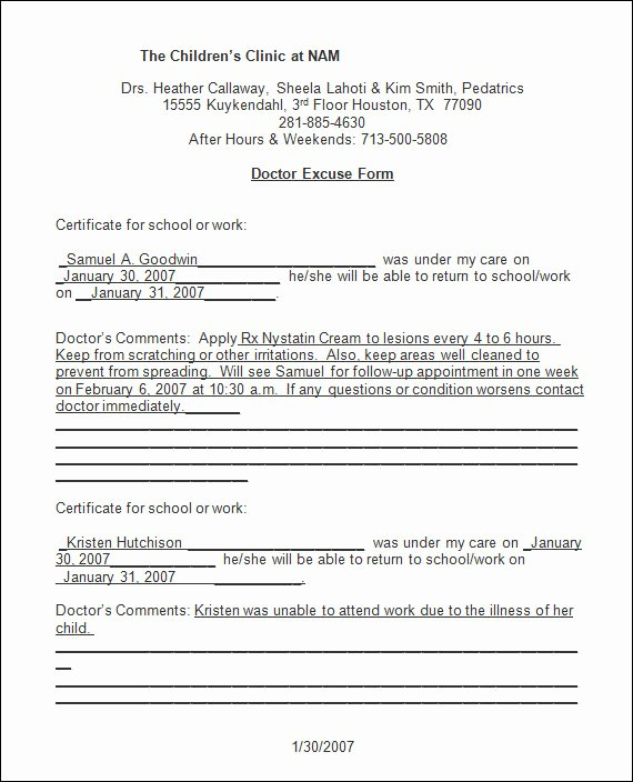 Doctors Sick Note Template Elegant Free 33 Doctors Note Samples In Google Docs Pdf