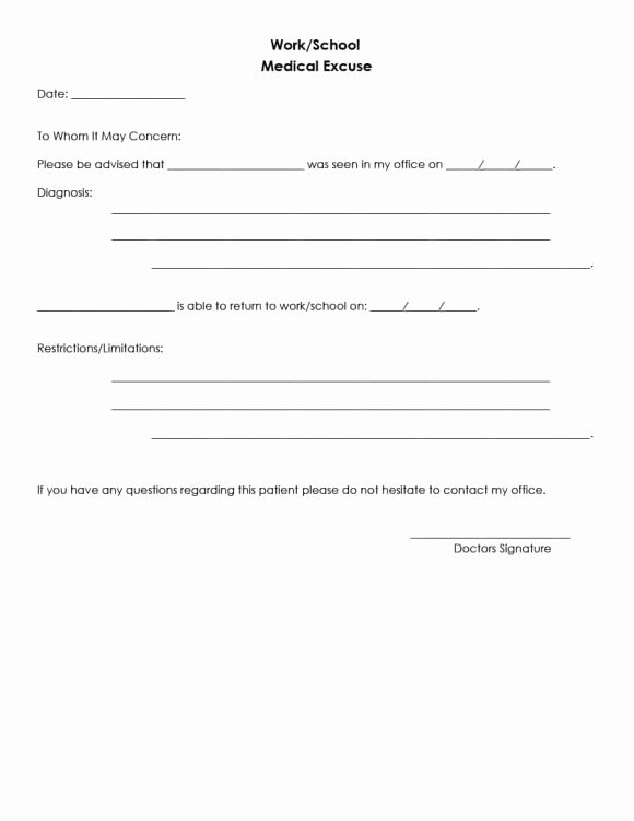 Doctors Sick Note Template Lovely 42 Fake Doctor S Note Templates for School & Work