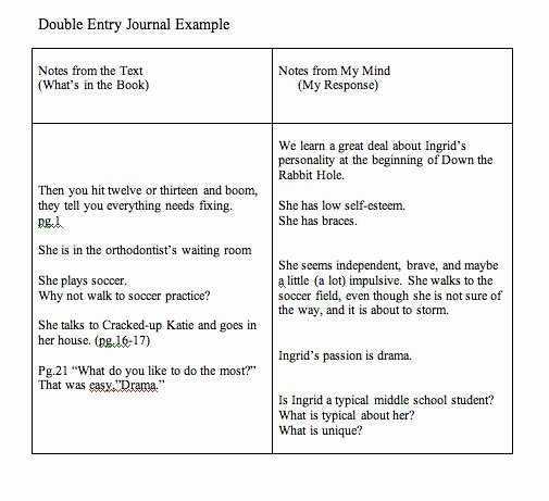 Double Entry Journal Template Best Of Double Entry Journals Examples Teaching