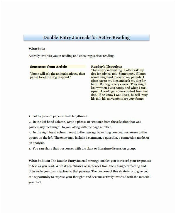 Double Entry Journal Template Lovely 10 Double Entry Journal Templates Pdf Doc
