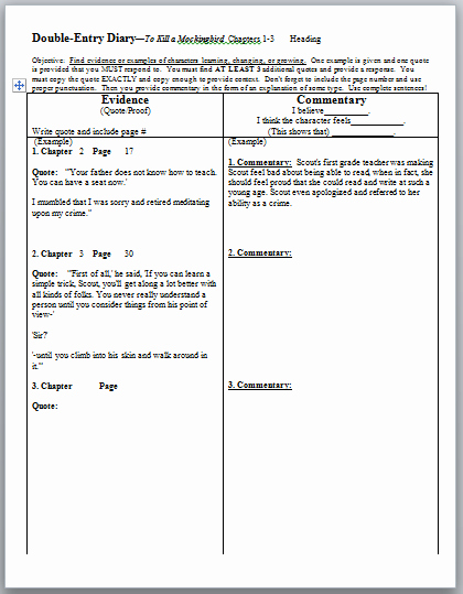 Double Entry Journal Template Lovely Tkam Double Entry Diaries Dialectical Journals for to