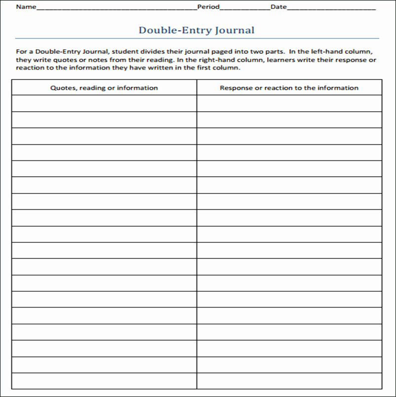 Double Entry Journal Template Luxury Double Entry Journal Template