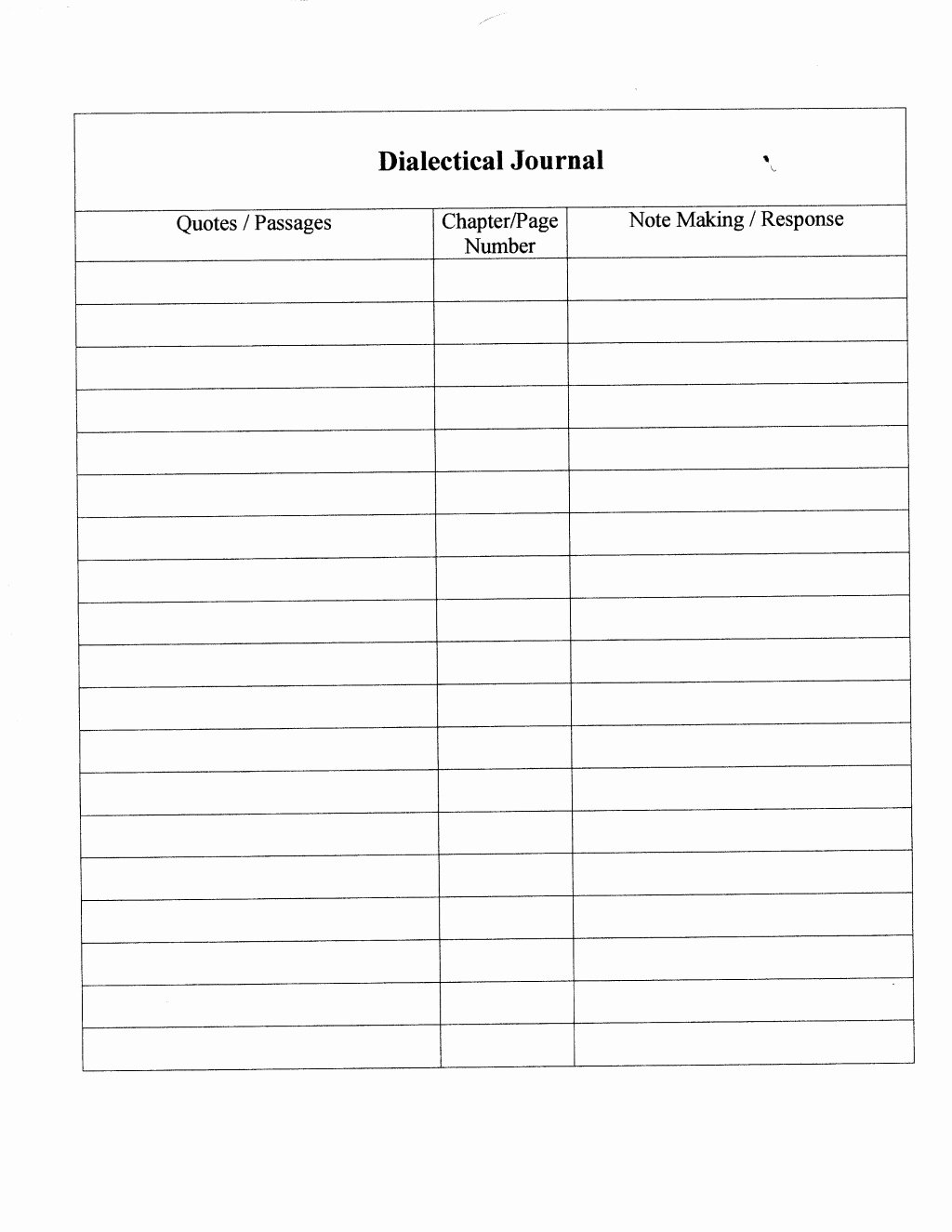 Double Entry Journal Template Unique Dialectical Journals and Reading