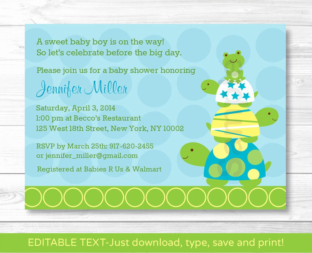 Downloadable Baby Shower Invitation Templates Elegant Stacked Turtle Frog Printable Baby Shower Invitation