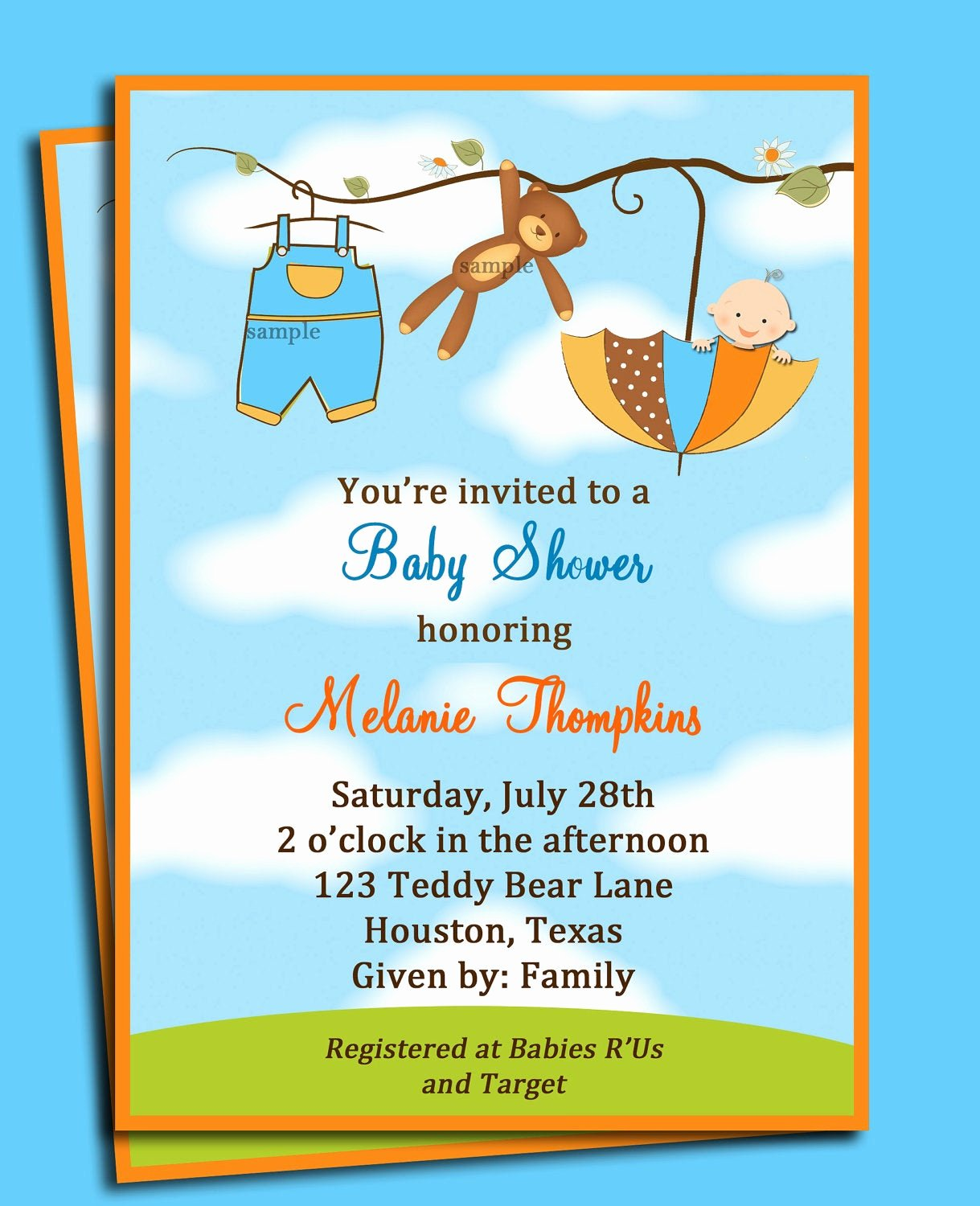 Downloadable Baby Shower Invitation Templates Fresh Teddy Bear Umbrella Boy S Baby Shower Invitation Printable