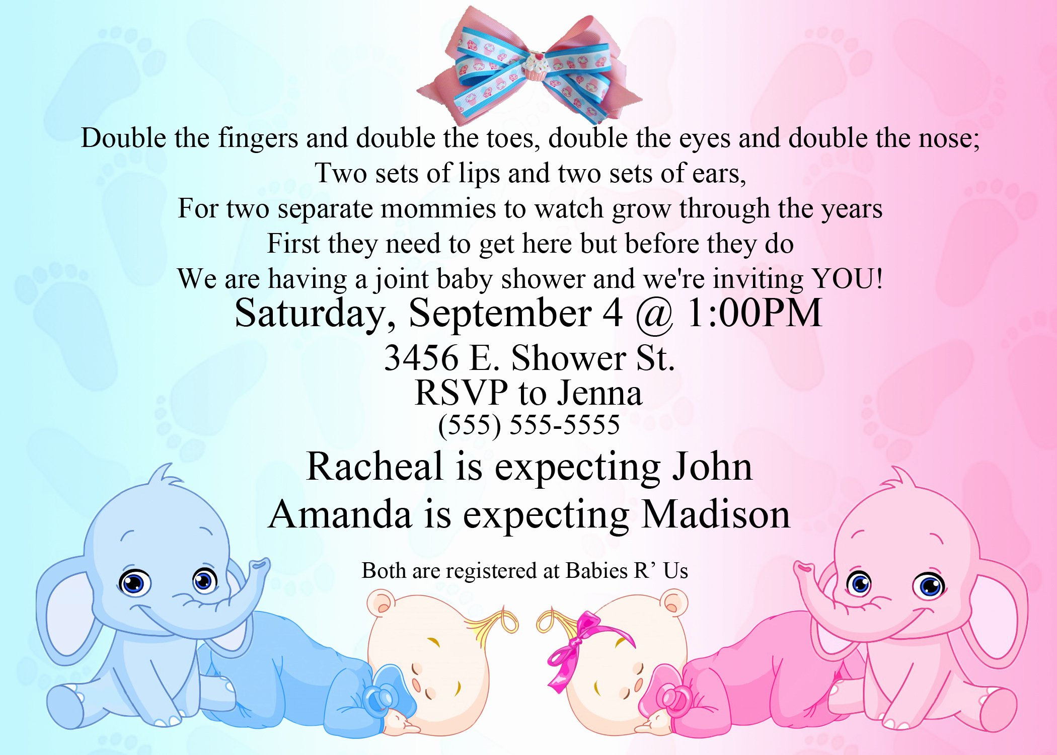 Downloadable Baby Shower Invitation Templates Inspirational Baby Shower Invitation Ideas for Twins