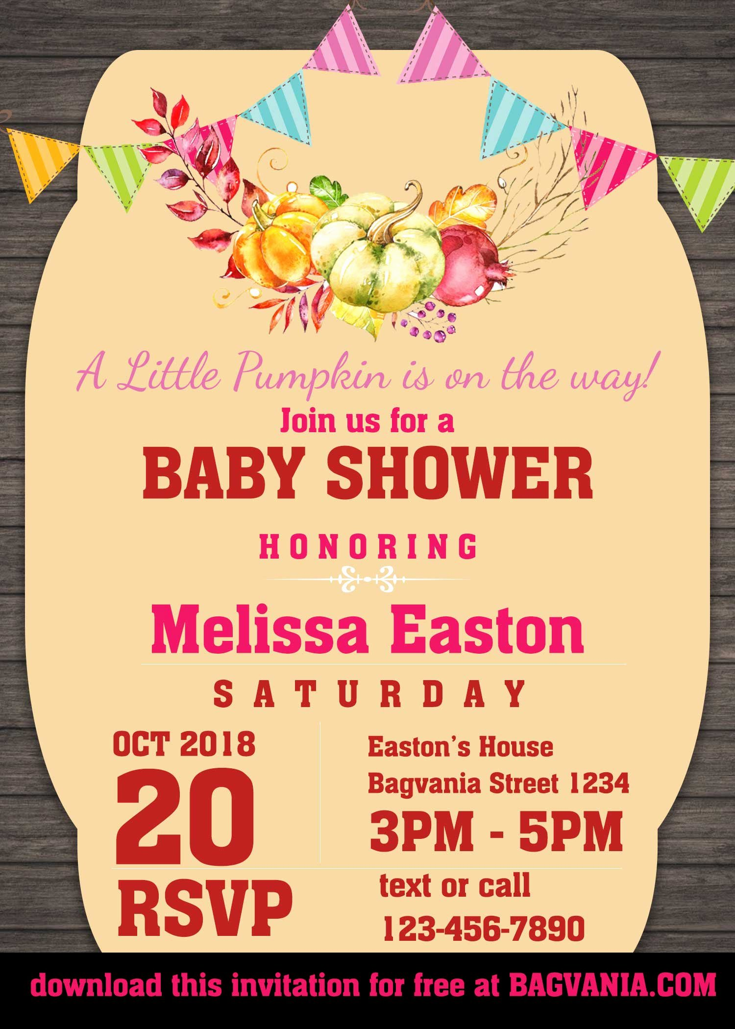 Downloadable Baby Shower Invitation Templates Inspirational Free Pumpkin Baby Shower Invitation Templates – Free
