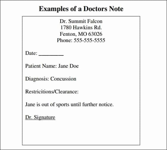 Dr Excuse for School Lovely 9 Doctor Note Templates Word Excel Pdf formats
