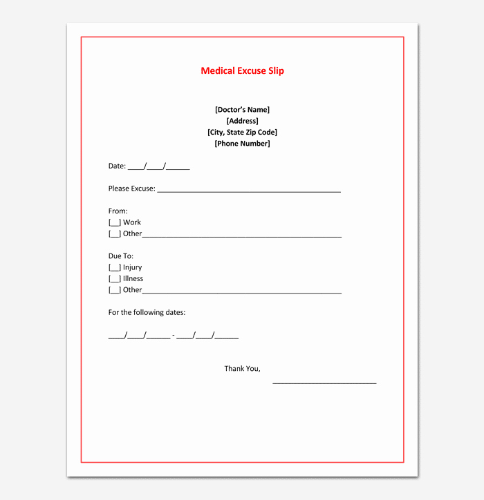 Dr Excuses for Work Awesome Doctors Note Template 7 Fillable Notes for Word & Pdf