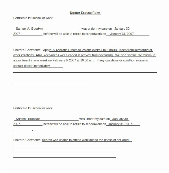 Dr Excuses for Work Beautiful 22 Doctors Note Templates Free Sample Example format