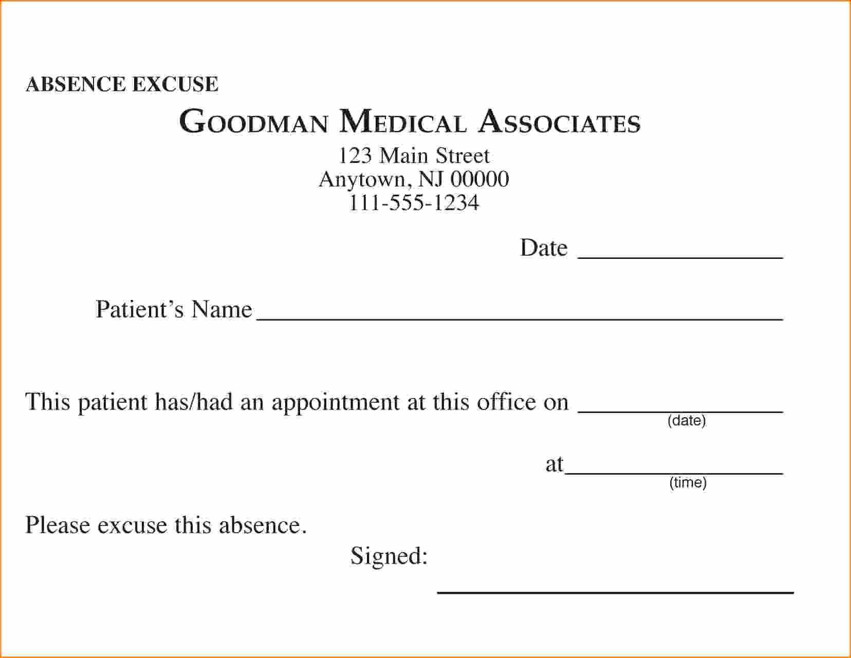 Dr Excuses for Work Fresh Free Printable Doctors Excuse for Work