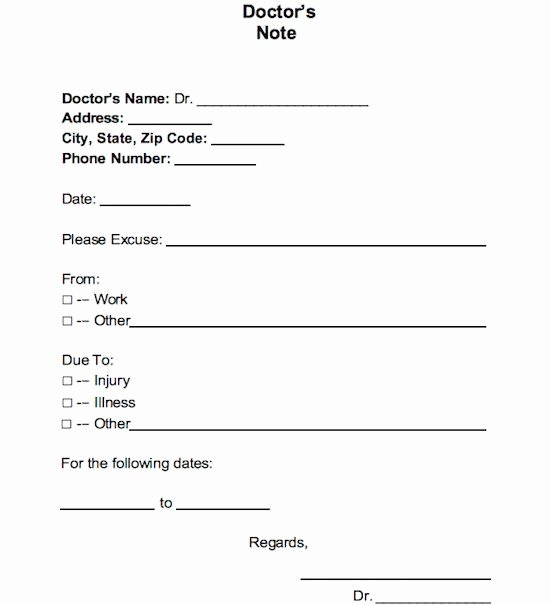 Dr Note Excuse From Work Awesome 21 Free Doctor Note Excuse Templates Template Lab