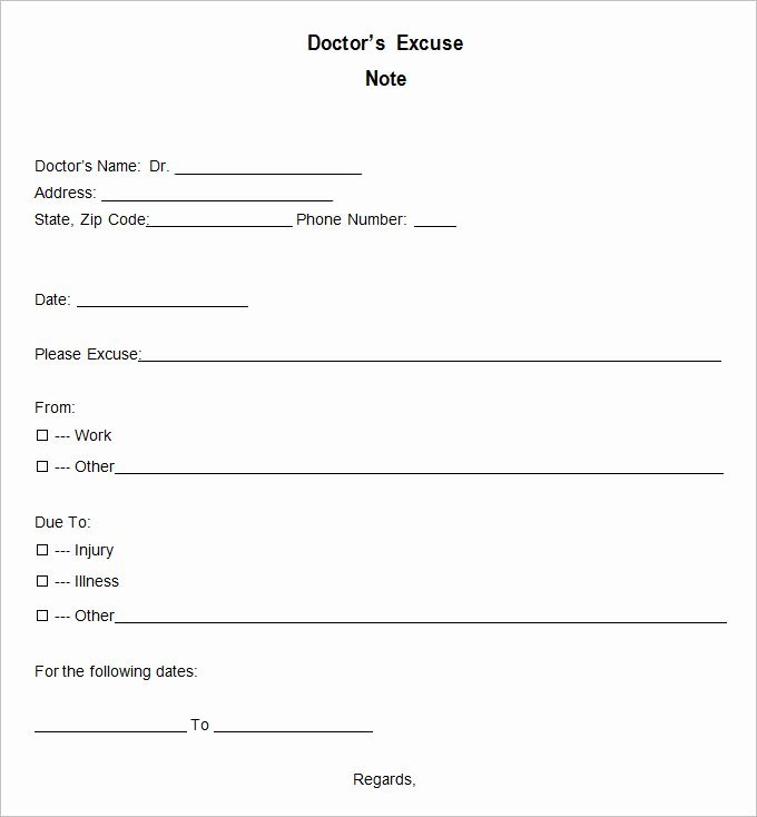 Dr Note Excuse From Work Awesome 9 Doctor Excuse Templates Pdf Doc